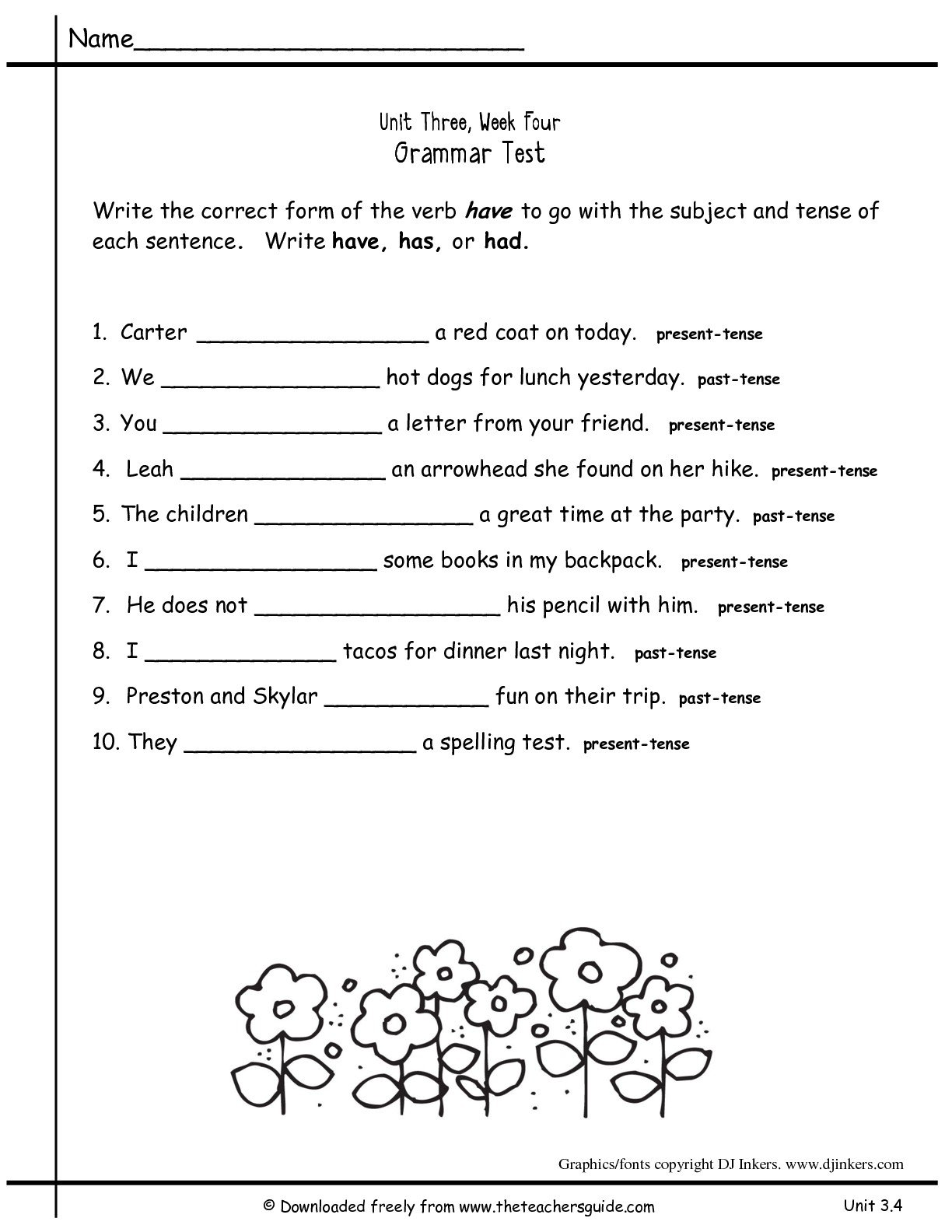 Grammar Worksheet 2nd Grade The Best Worksheets Image