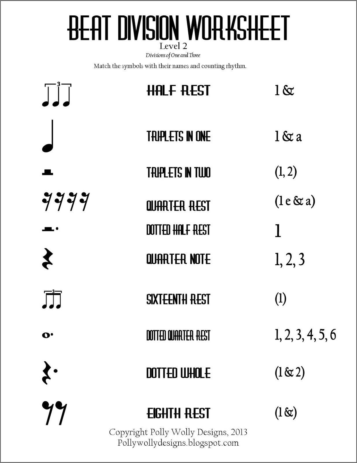 Counting Rhythms Worksheets
