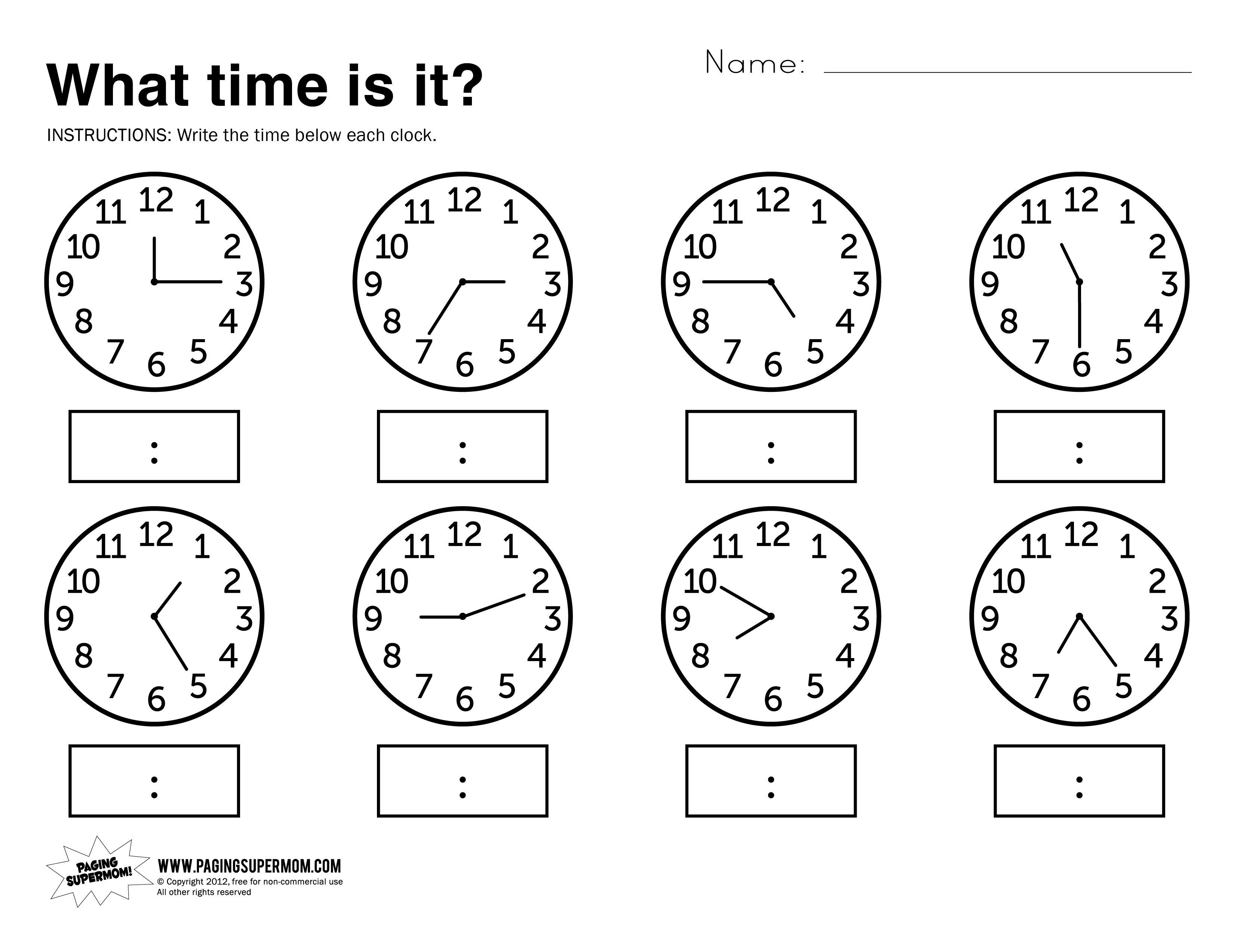 Telling Time First Grade Worksheet The Best Worksheets