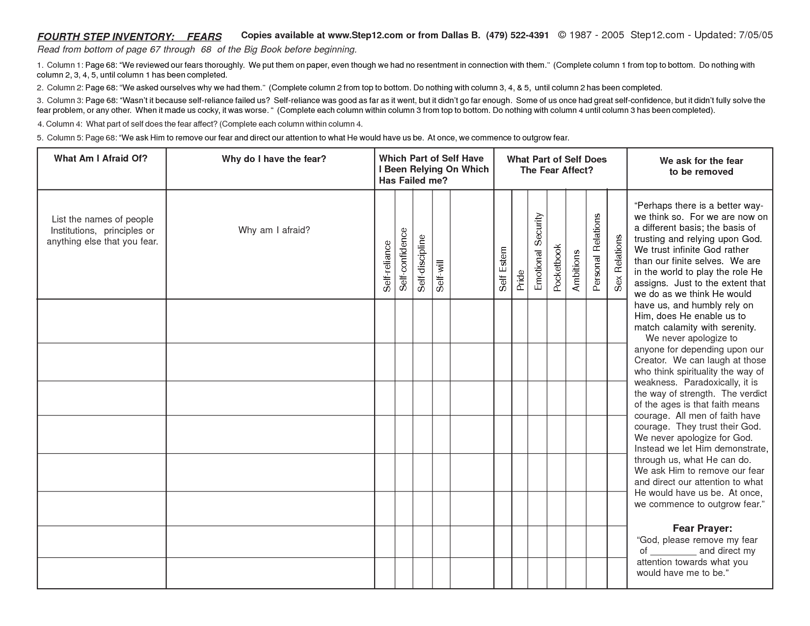 Celebrate Recovery Step 4 Inventory Worksheets