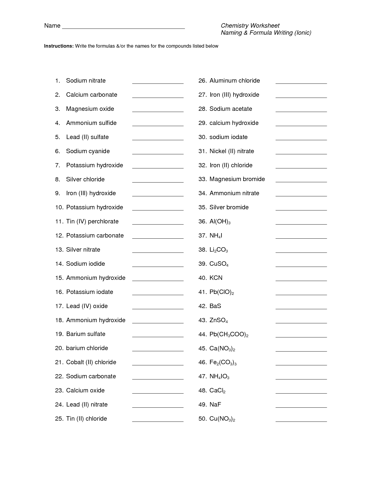 43 Binary Ionic Compounds Worksheet Answers Writing And