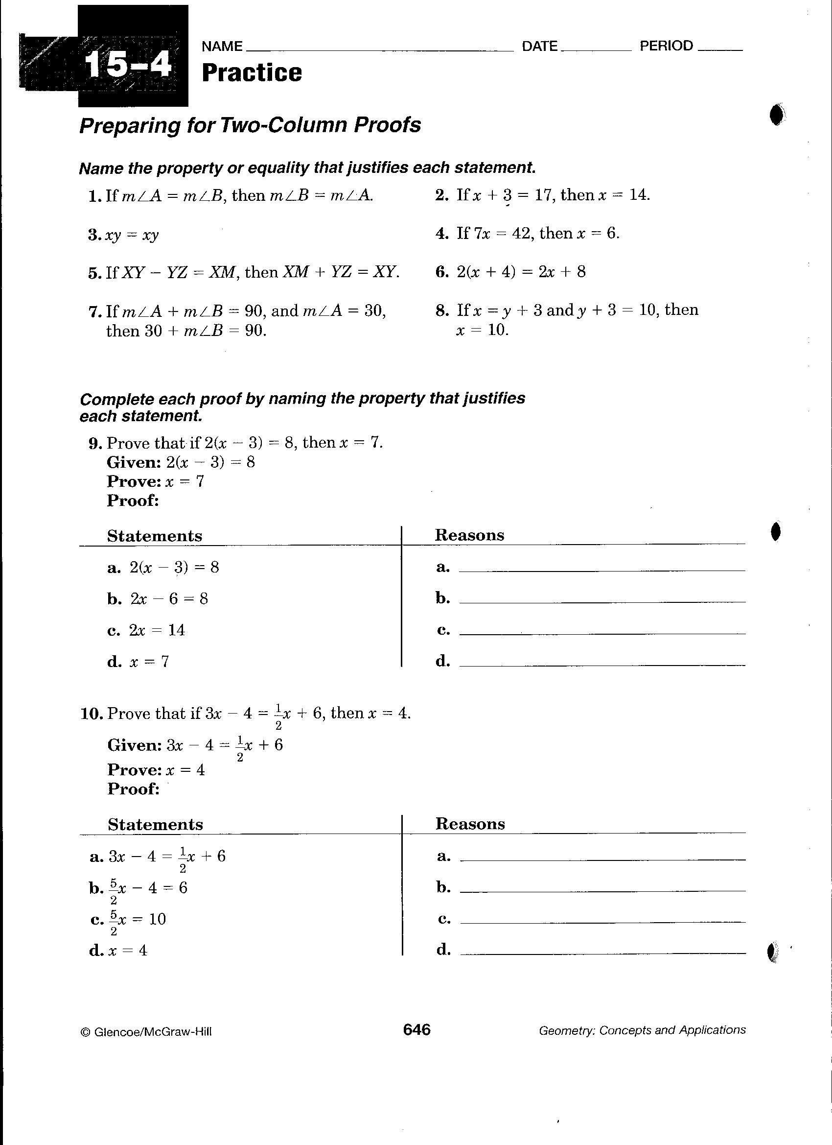 Beginning Geometry Proofs Worksheets