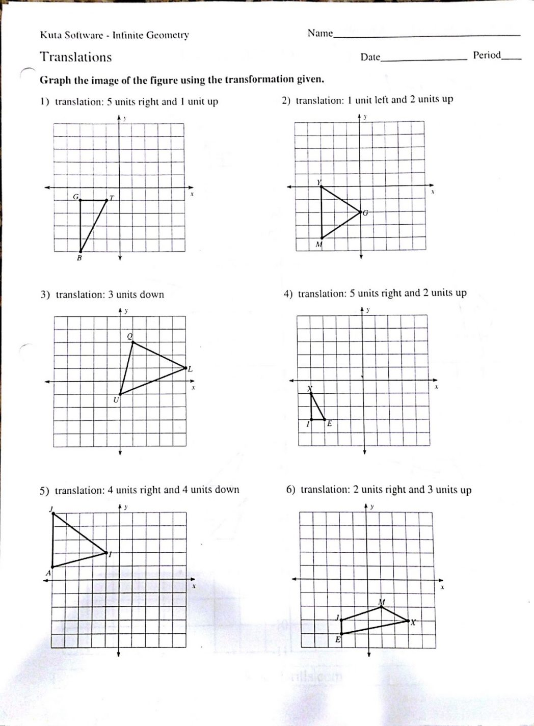 Glide Reflection Worksheets