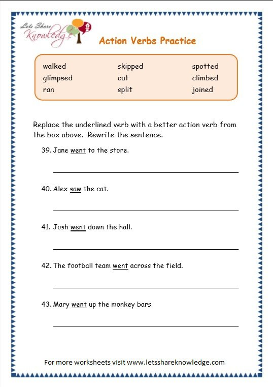 Grade 3 Grammar Topic 2 Action Verbs Worksheets Free