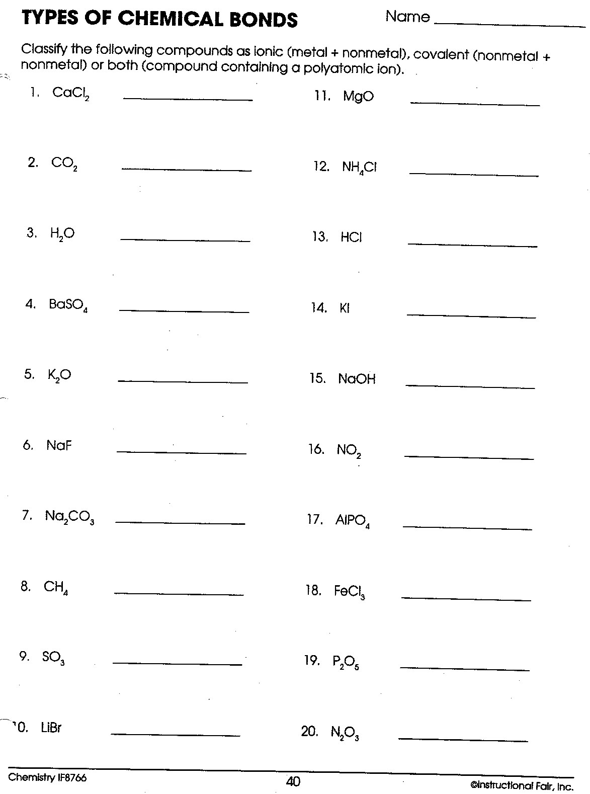 Identifying Ionic And Covalent Bonds Worksheet The Best