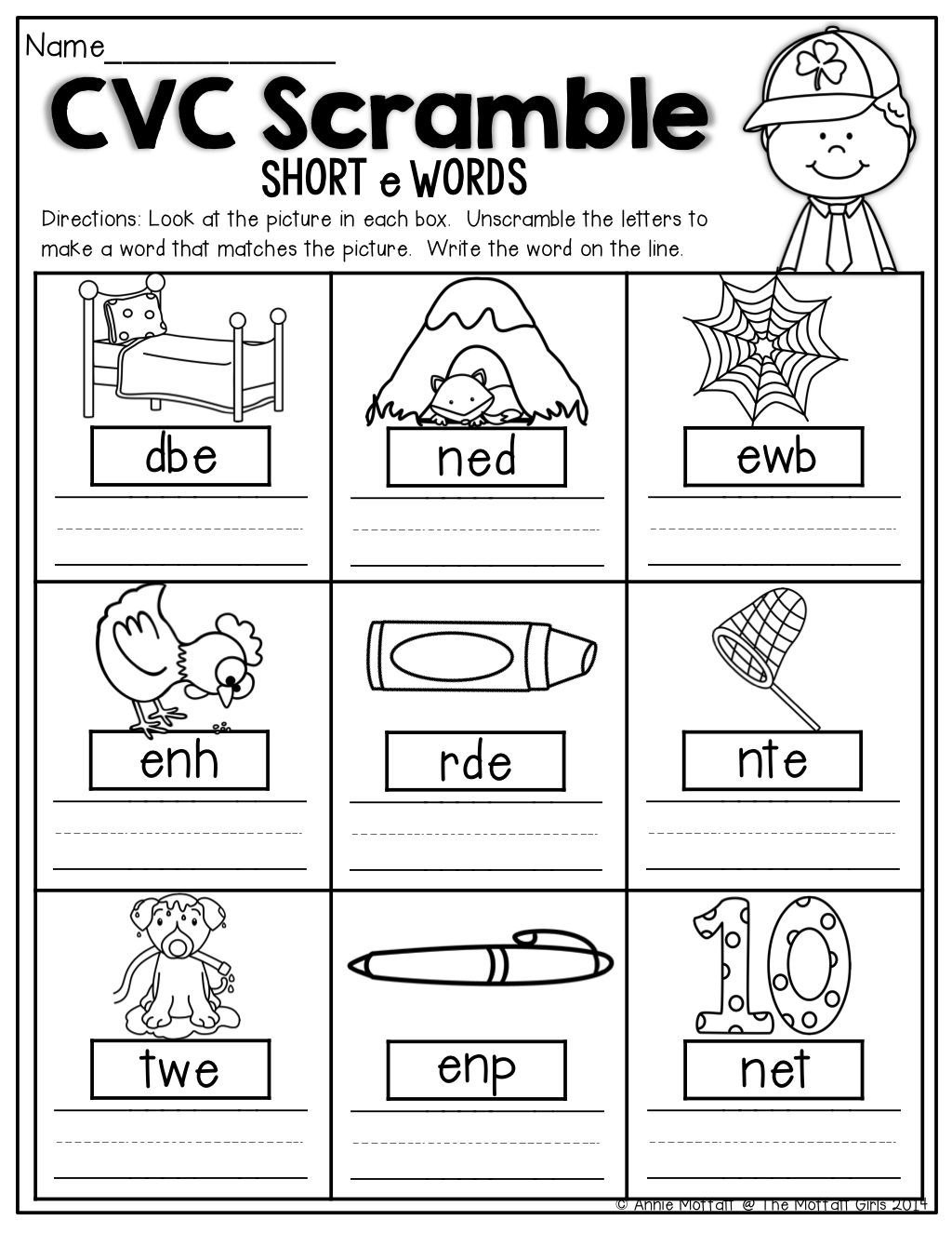Kindergarten Worksheets For Cvc Words