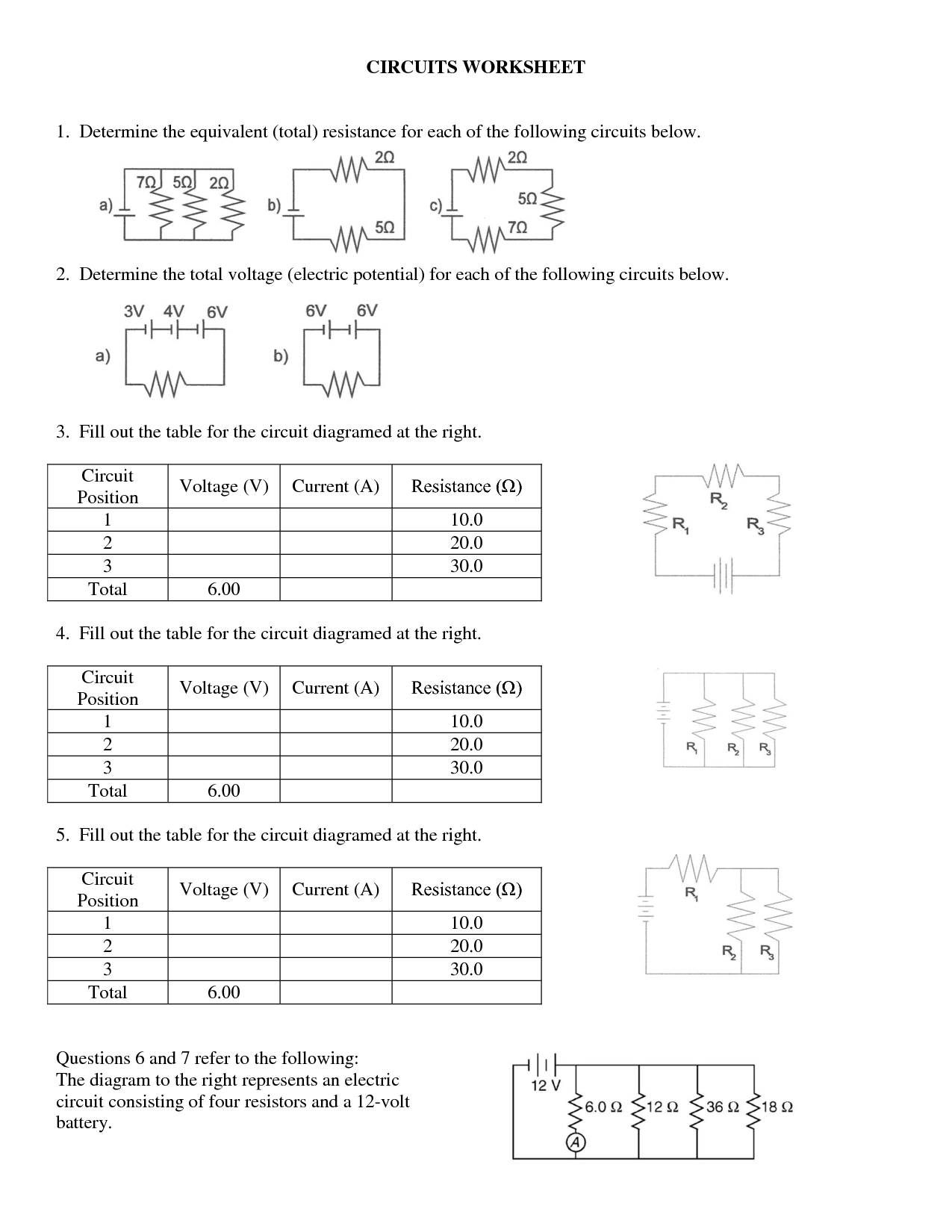 Series Circuits Worksheets