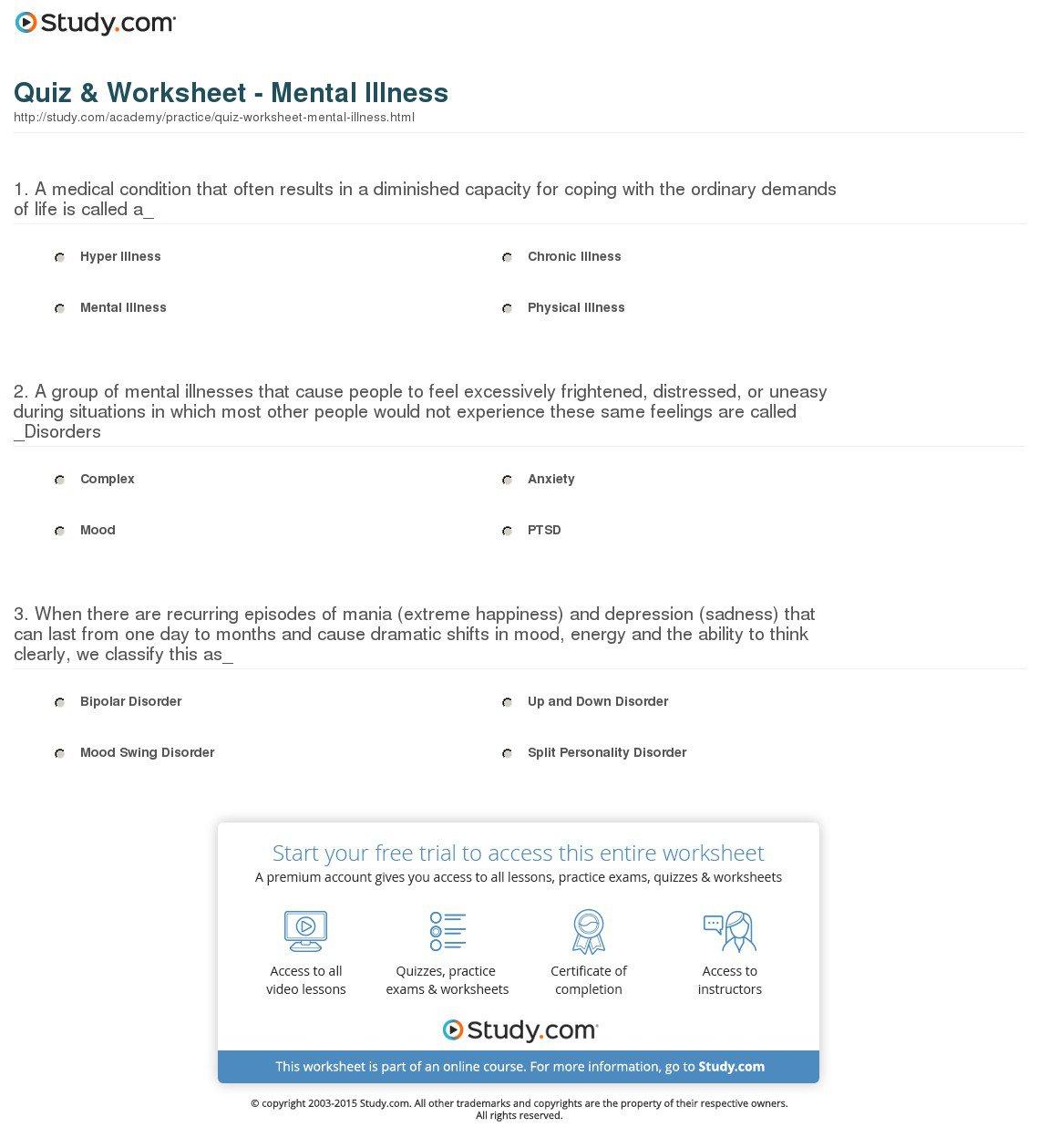 Mental Illness Worksheets