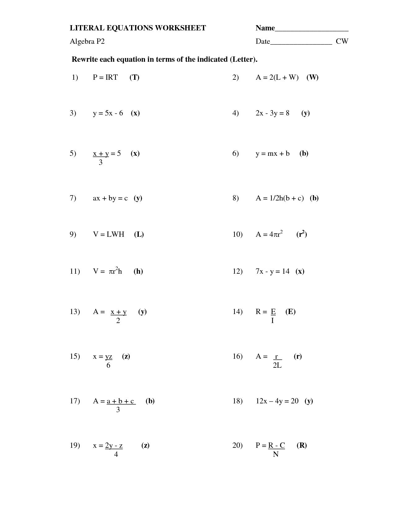 Algebra Solving Equations Worksheet The Best Worksheets