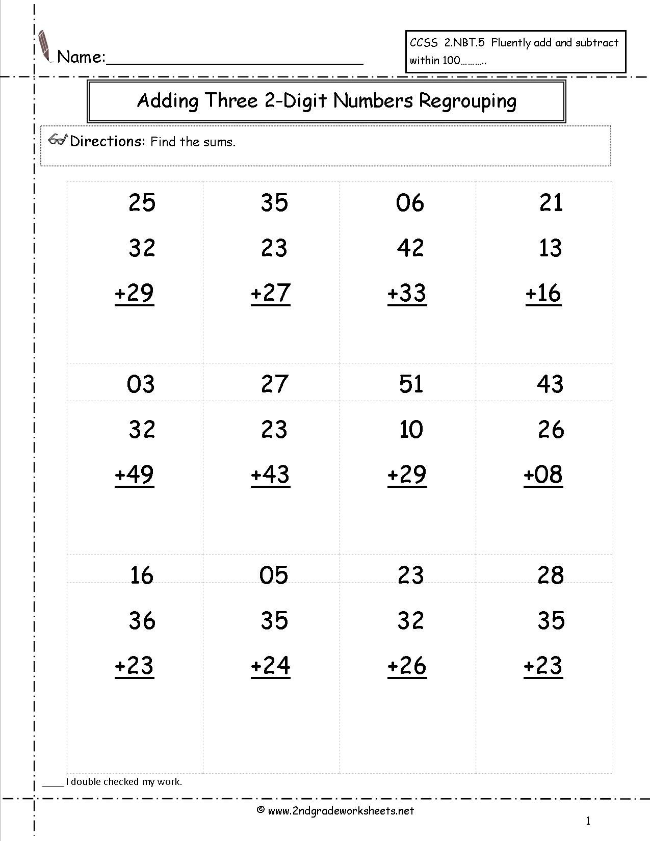Collection Of Math Worksheets Adding Double Digits Free