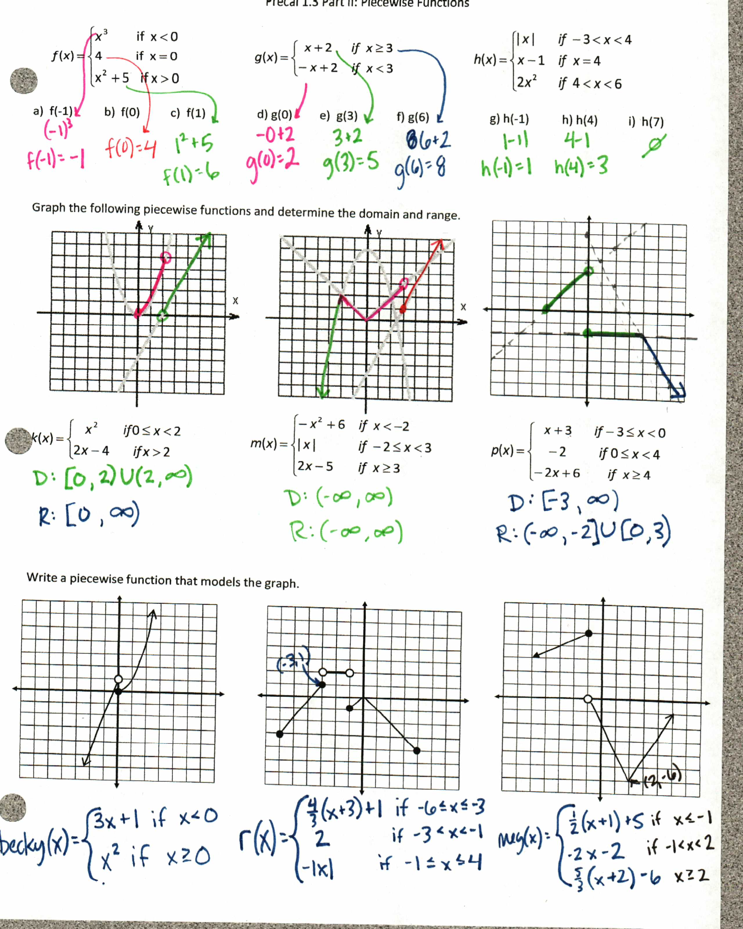 Math 4 Worksheets Piecewise Functions Answers