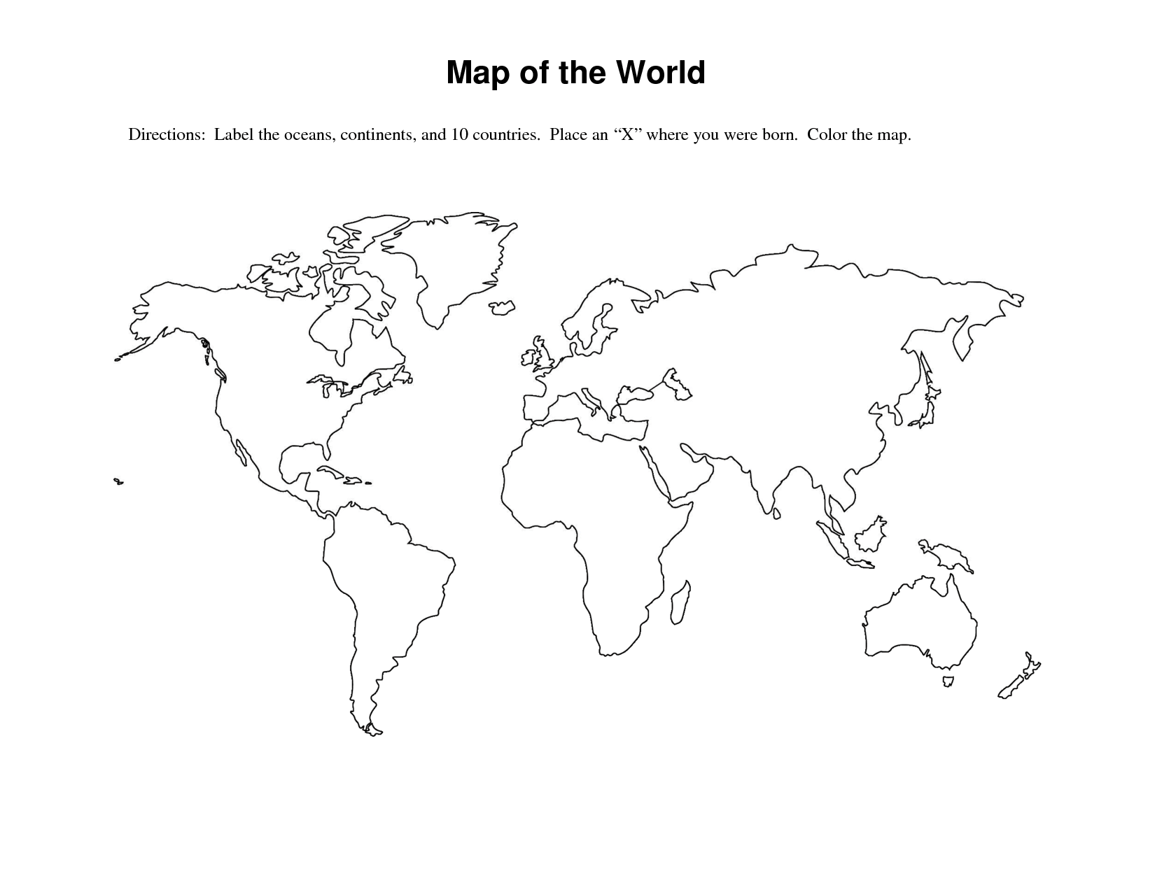 Fill In The Blank World Map Worksheet The Best Worksheets