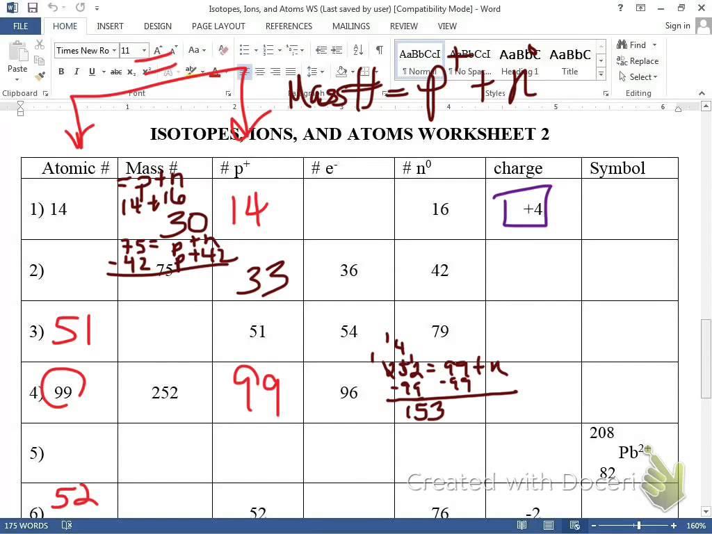 Isotopes Worksheet Key