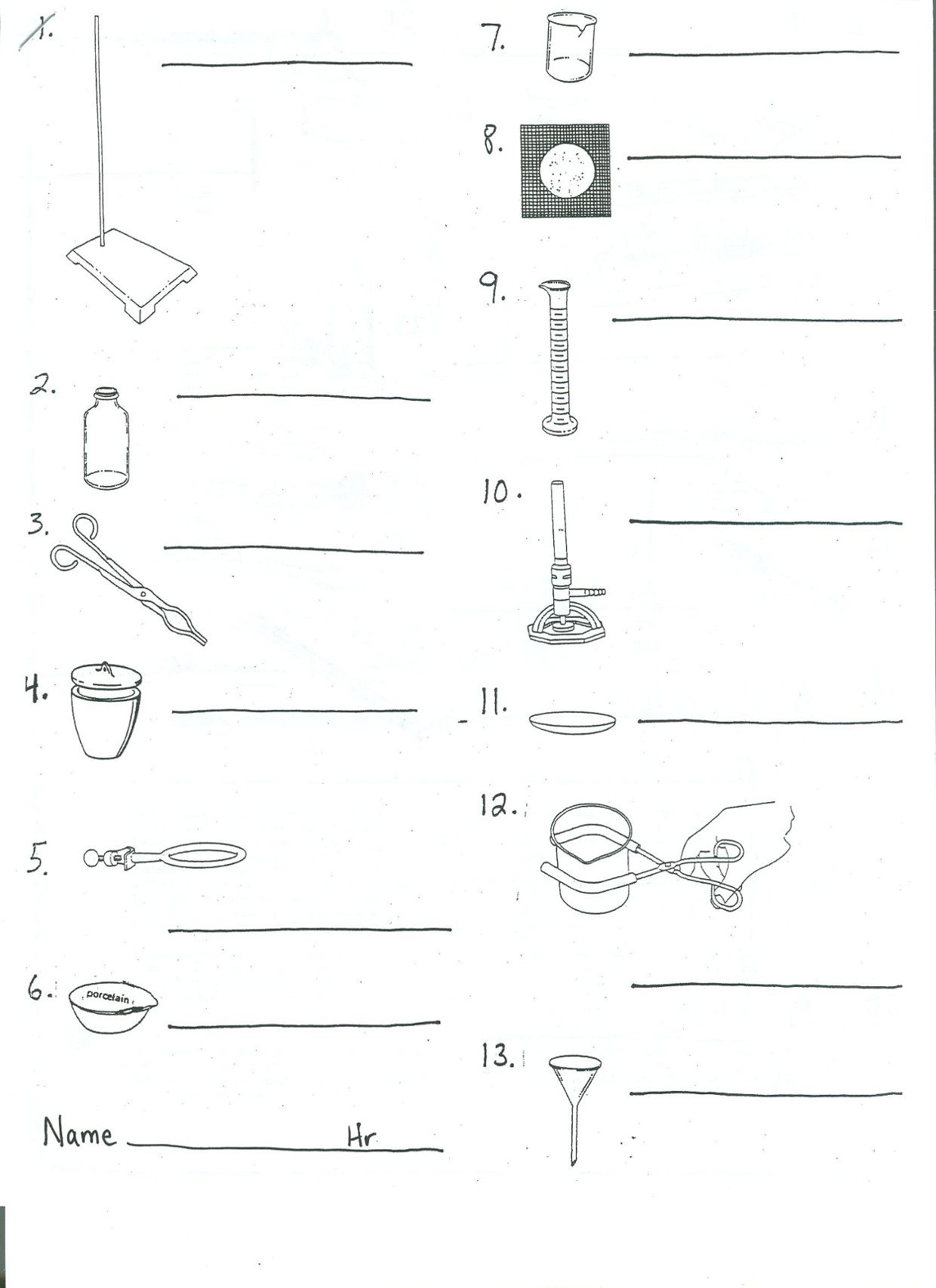 Chemistry Lab Equipment Worksheets