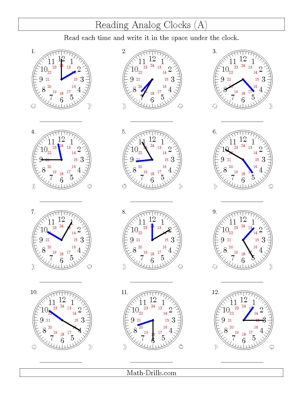 Math Worksheets Telling Time 5 Minutes Free