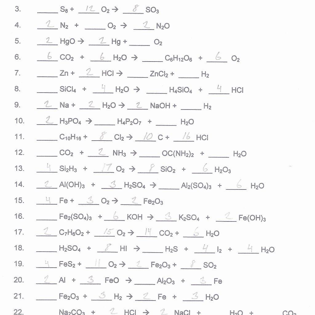 Worksheet 11 1 Balancing Skeleton Equations Free