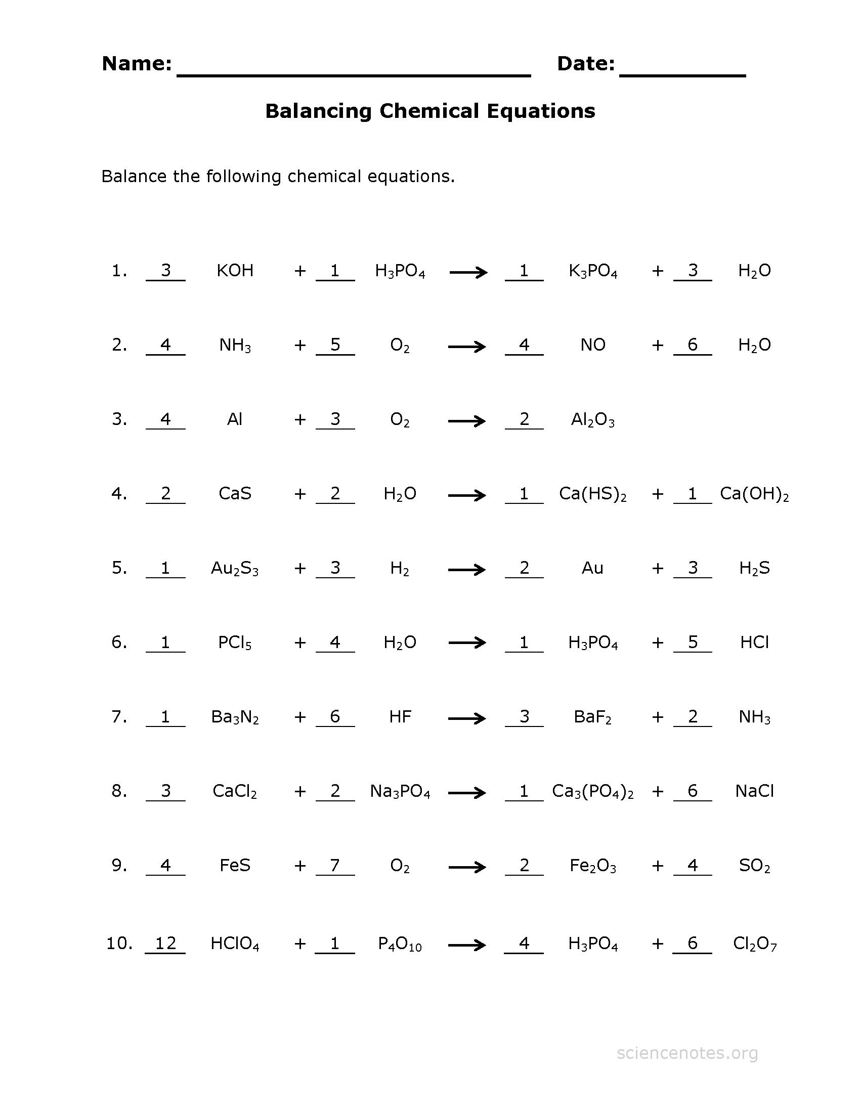 Balancing Chemical Equations Worksheet 9th Grade