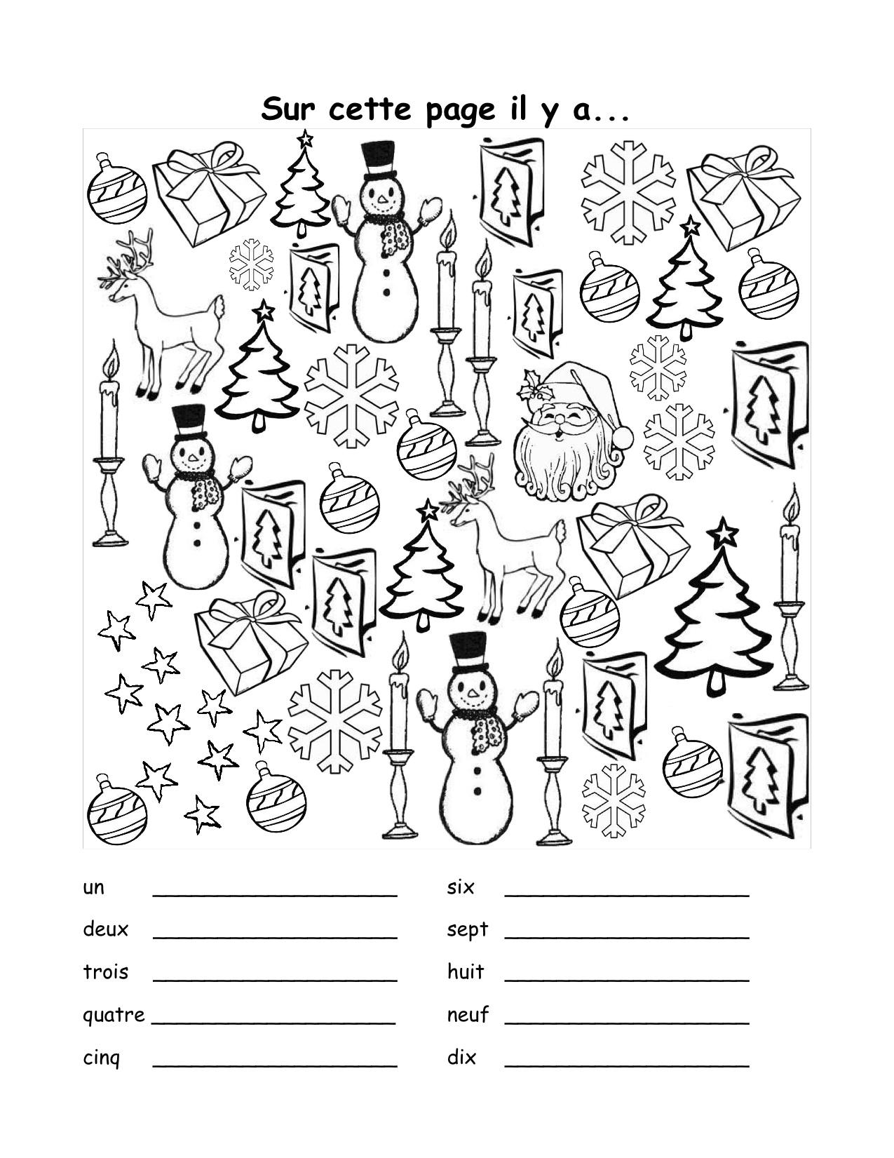 Christmas Worksheet In French Free Worksheets Samples