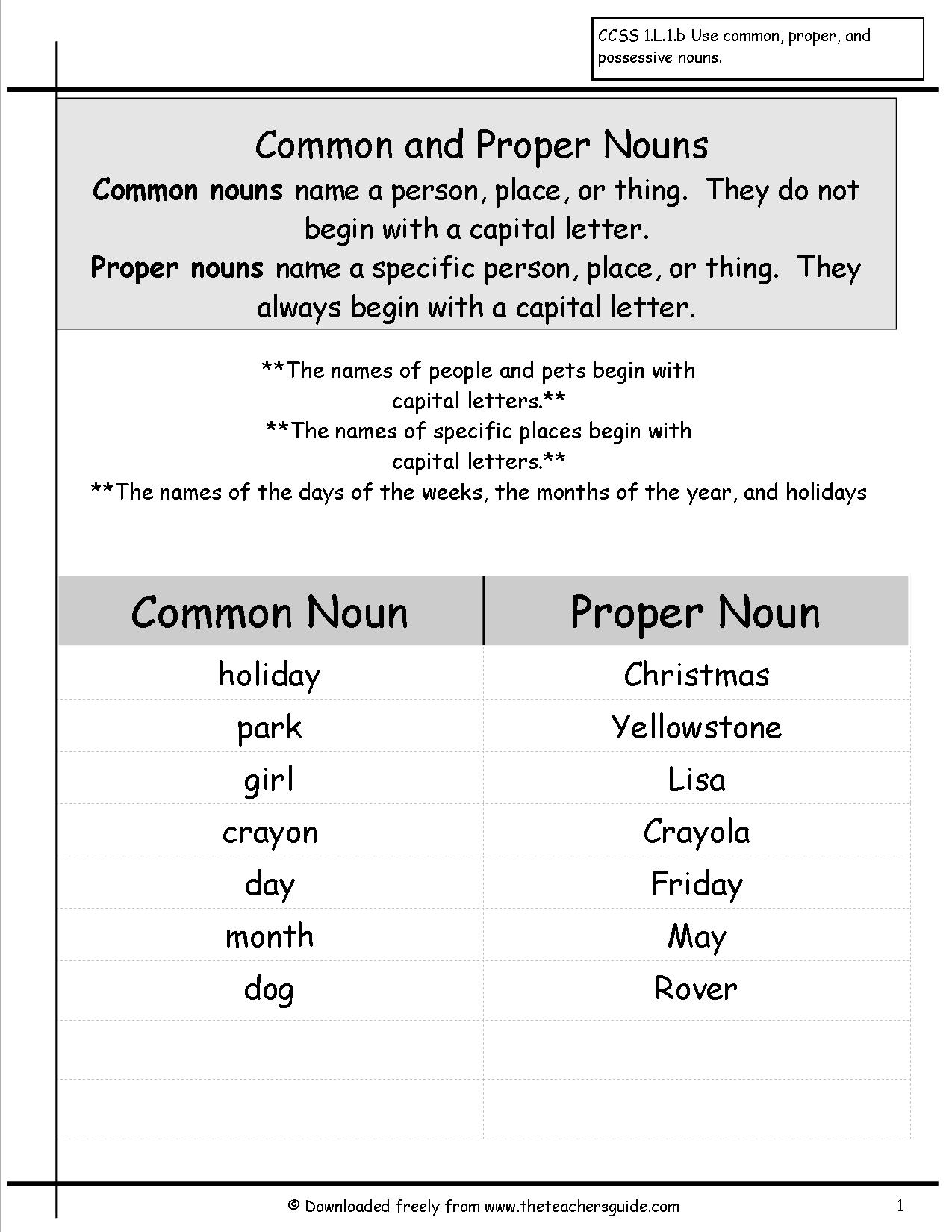 Common Nouns Worksheets For Kindergarten Free