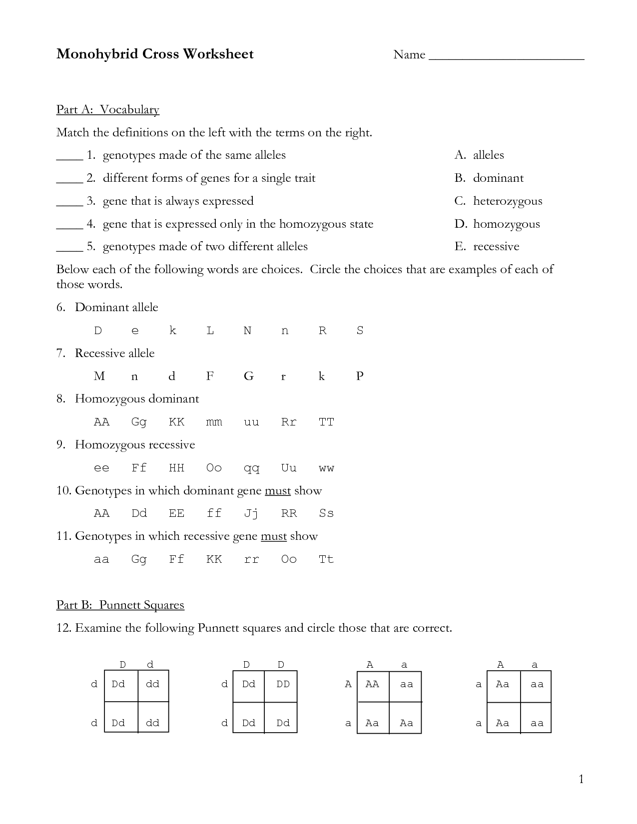 Dihybrid Cross Homework Problems Answer Key Free