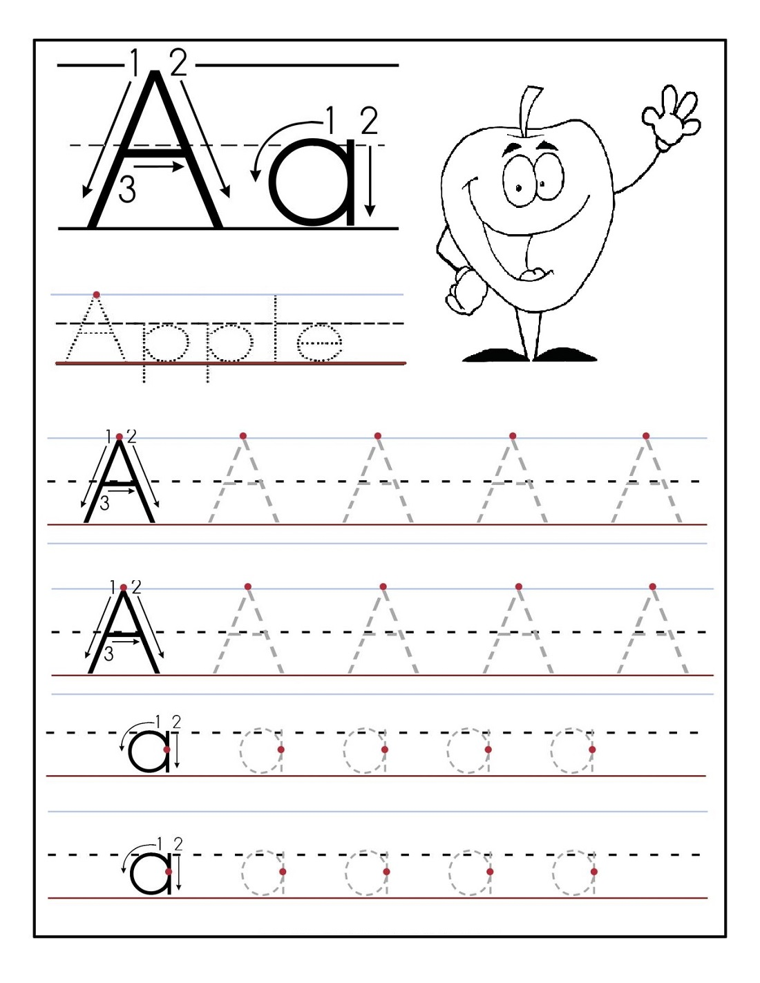 Kindergarten Alphabet Worksheets Tracing Free