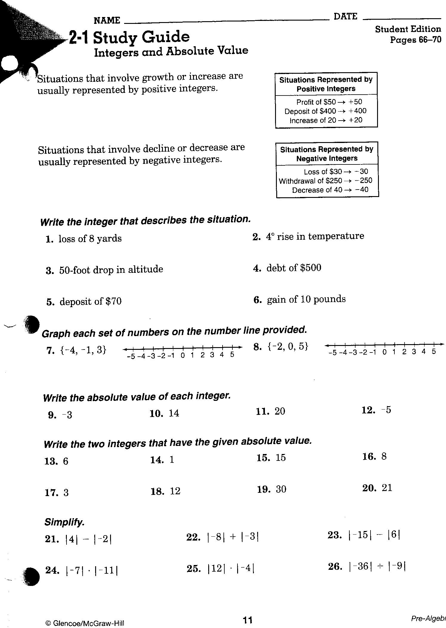 Math Worksheets On Integers For 7th Grade Free