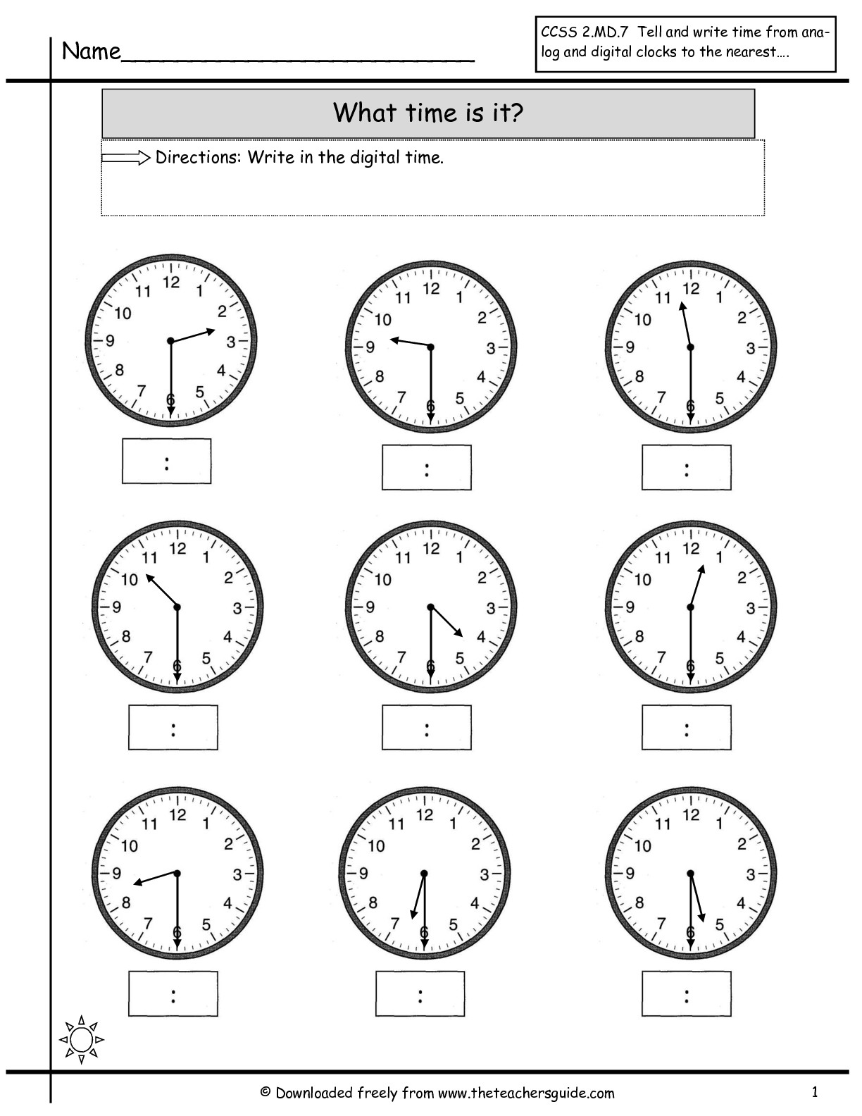 Math Worksheets Time To The Half Hour Free