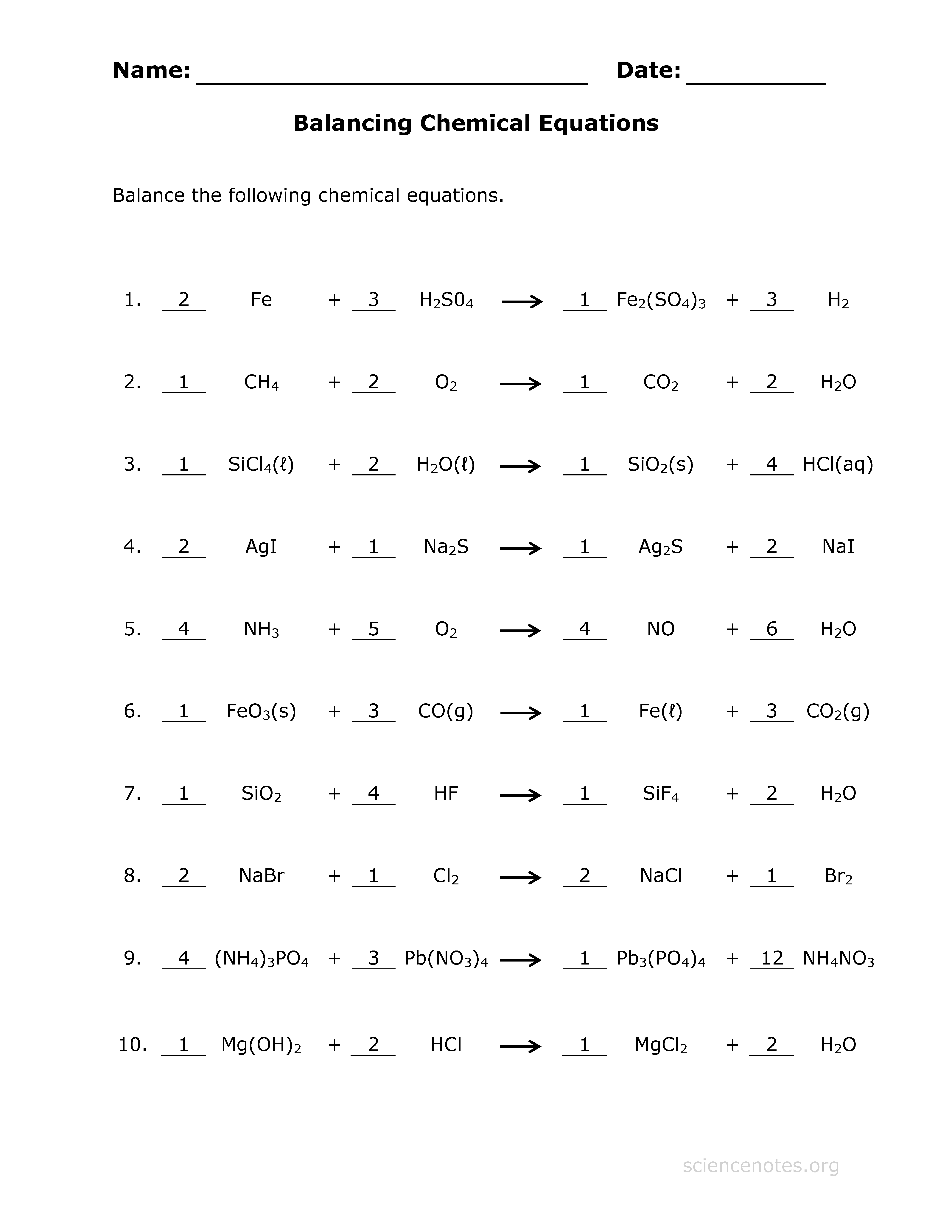 Balancing Equations Worksheets About Chemistry