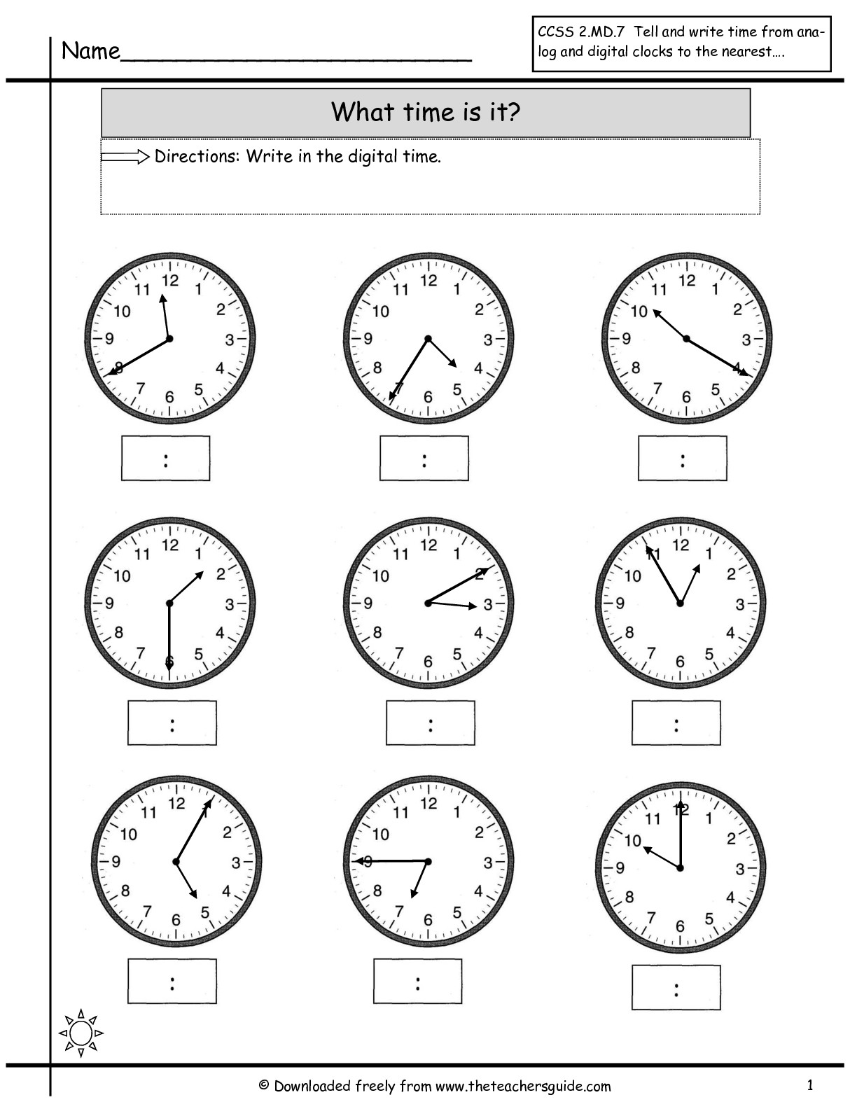 Math Worksheet Time To The Nearest Minute