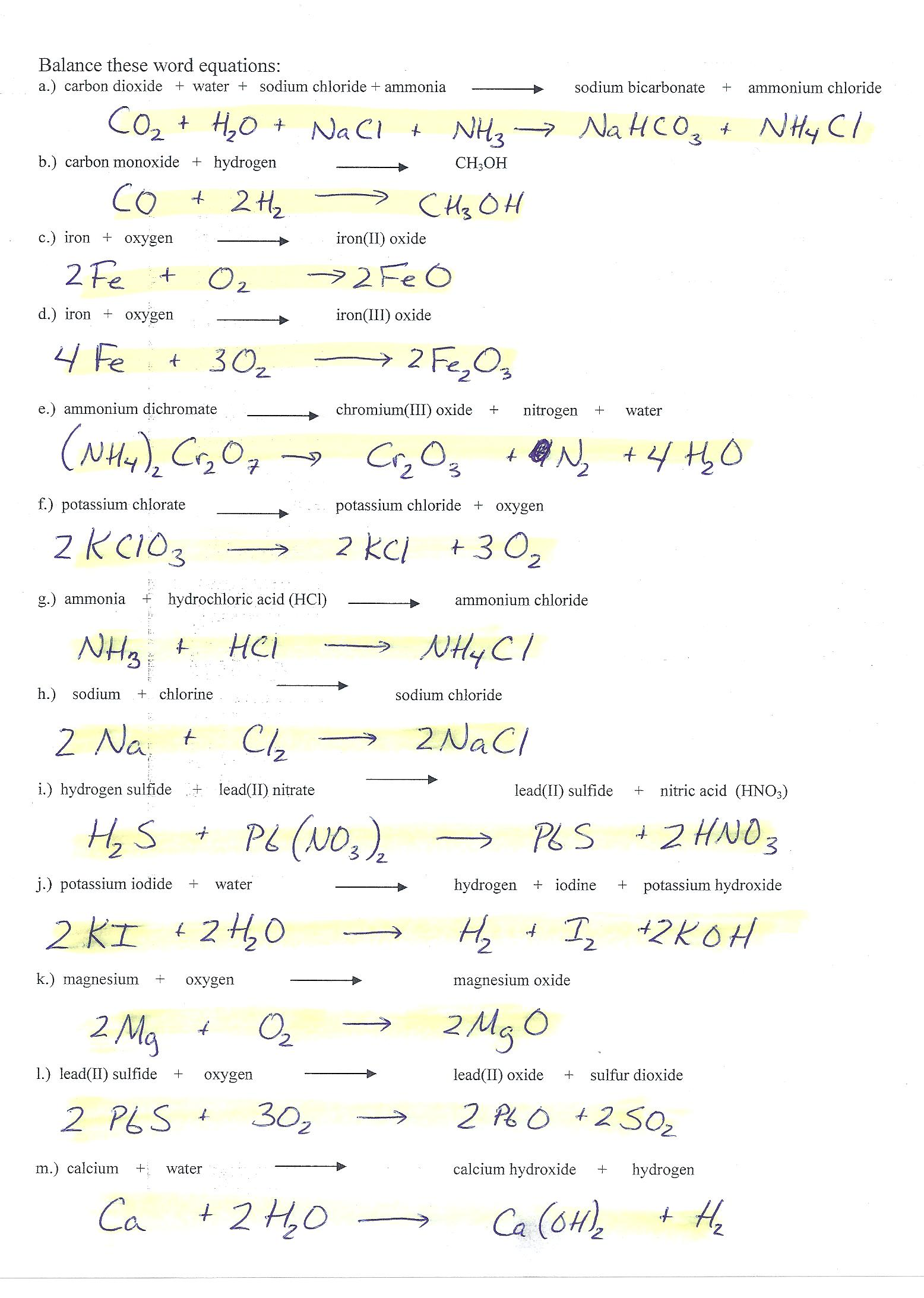 Chemical Equation Worksheets Answer Key