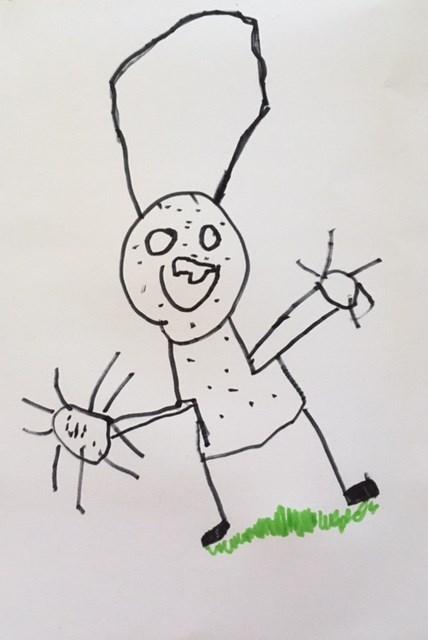 ook van deze kindertekening kun je een te gekke sticker maken