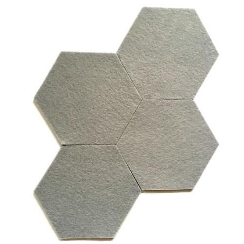 grijze hexagoon onderzetters van wasbaar en hittebestendig vilt