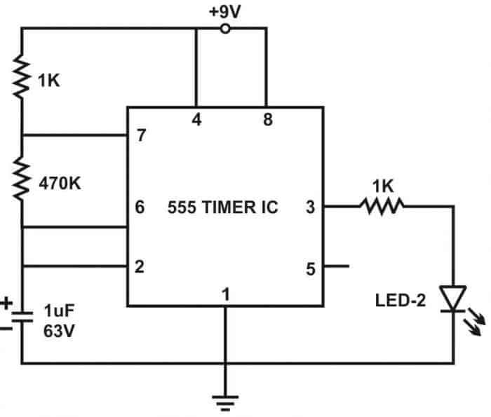 LED Blinking Circuit using 555 Timer