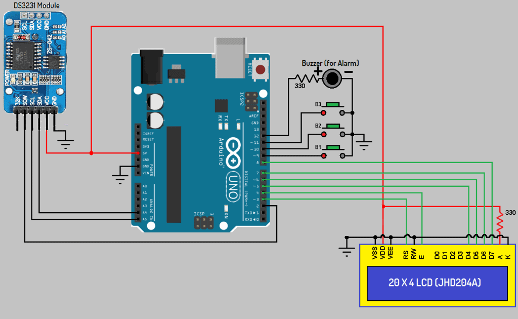 arduino ds3231 based real time clock with alarm \u0026 temperaturearduino ds3231 based real time clock
