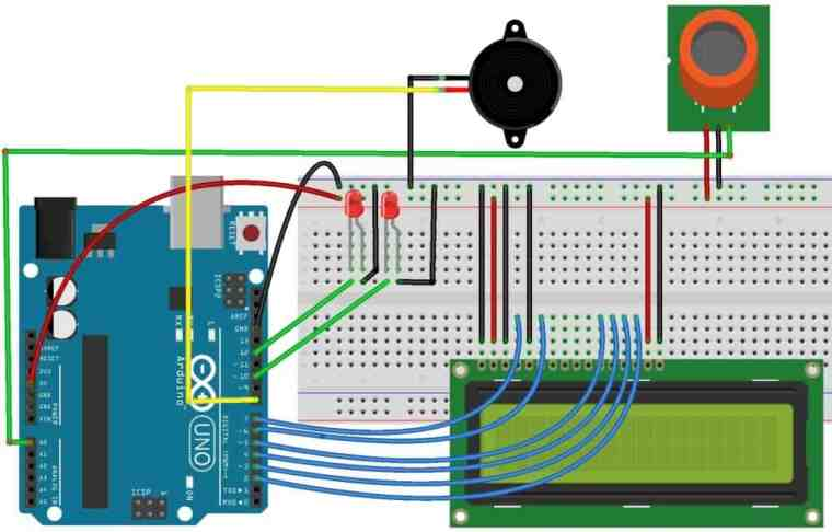 Arduino Smoke Level Detector using MQ-135 Sensor with Alert Alarm on