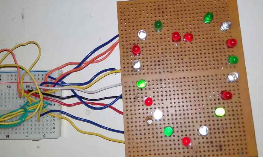 Heart Shaped Serial LED Flasher Circuit using 555 Timer