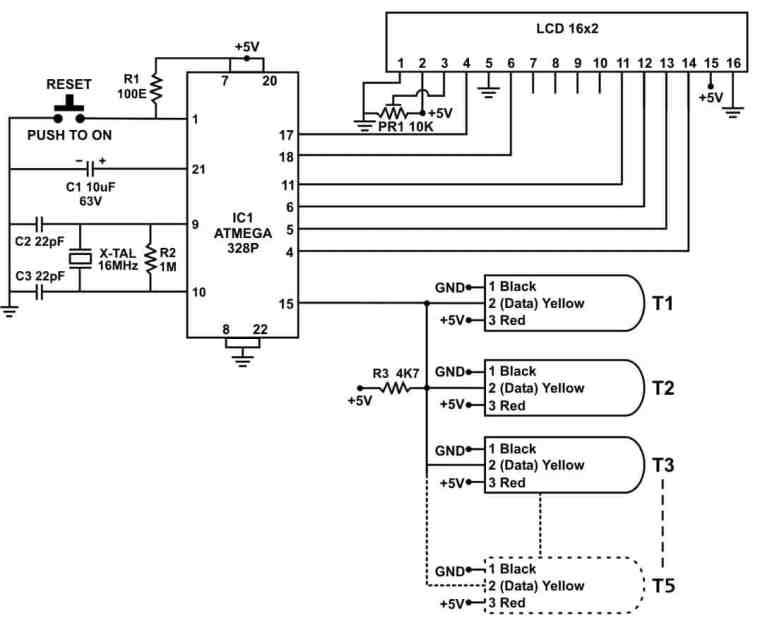 Interfacing Multiple DS18B20 Temperature Sensors to Microcontroller