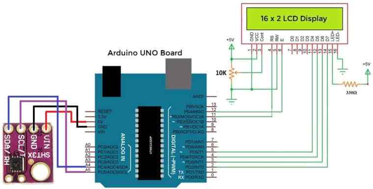Interfacing SHT3x with Arduino Circuit Diagram