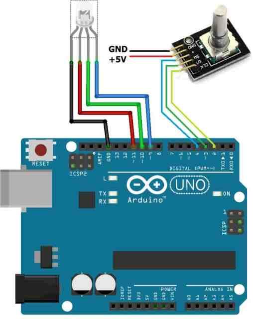 RGB LED Arduino Circuit rotary encoder