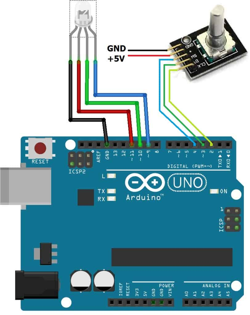 RGB LED Color Control using Rotary Encoder and Arduino