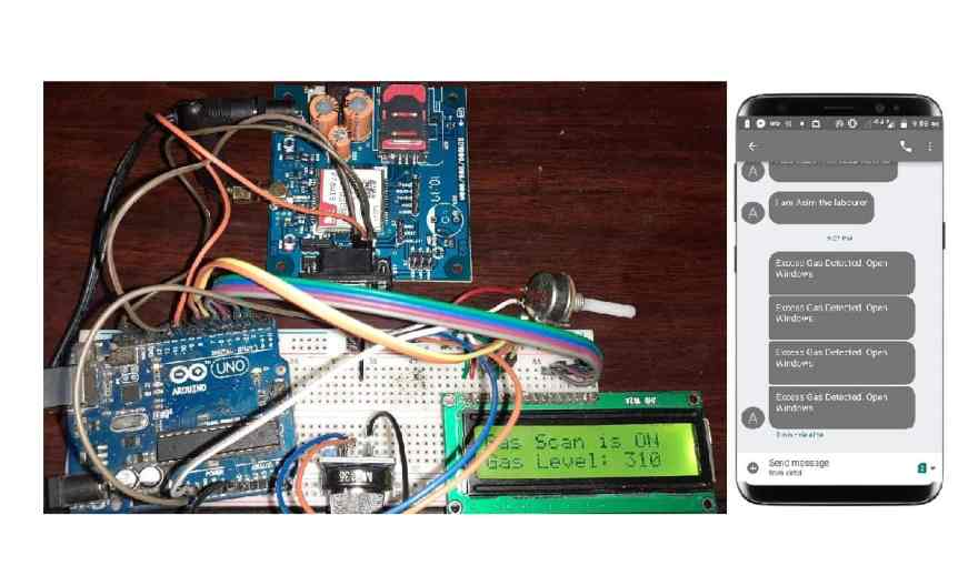 Gas Leakage Detector with SMS Alert using GSM Module & Arduino
