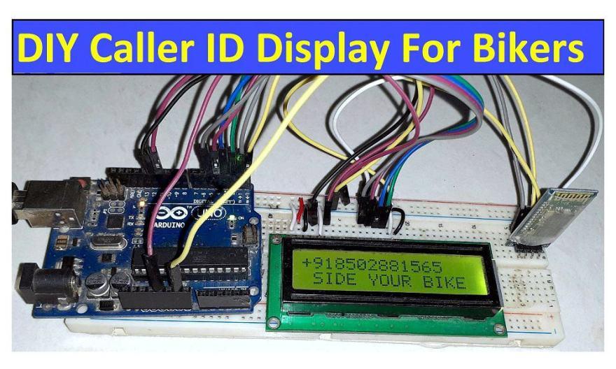 Wireless Caller ID Display for Bikers using Bluetooth & Arduino