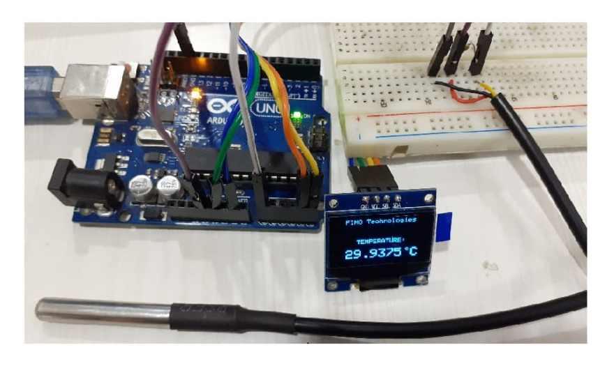 Temperature Meter using DS18B20 OLED Display & Arduino