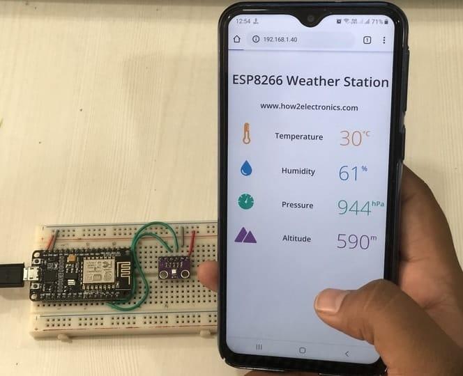 ESP8266 & BME280 Based Weather Station Live Monitoring