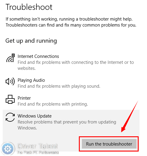 Run Update Troubleshooter