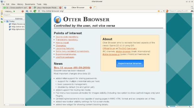Otter Browser open source light wieght browser for Linux windows and MacoS