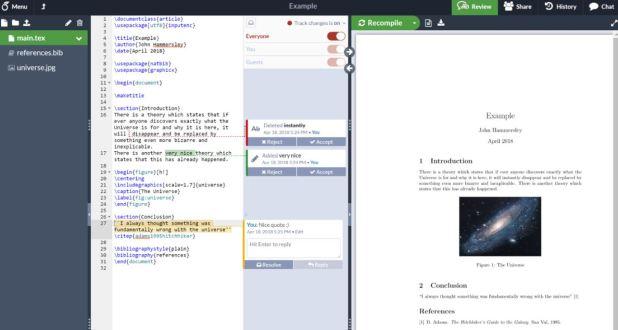 overleaf or ShareLaTeX online LaTex editors