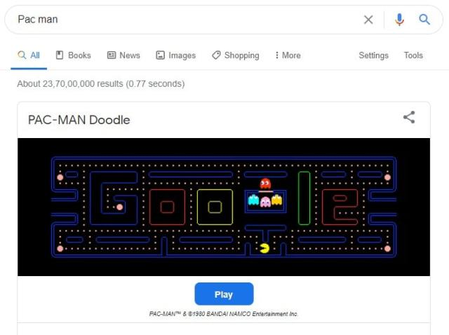 Pacman game Easter google