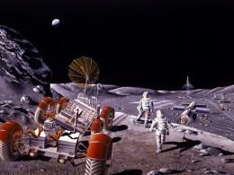 1986 artist concept of a lunar colony