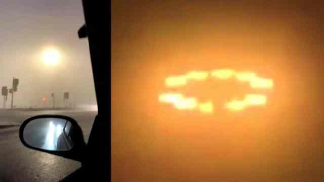Glowing rings over Fargo